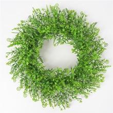 1Pcs Simulation Plastic Green Leaf Garland Grass Ring Wall Hanging Lily Wedding Decoration Round Wreath M18