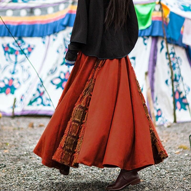 Diseños El Negro Costura 2018 Negro Plaid borgoña Mujer Plisado Invierno Femenina Cuero Y De Otoño Maxi Rejilla Falda Faldas vacaciones Larga OxwqqYgEH