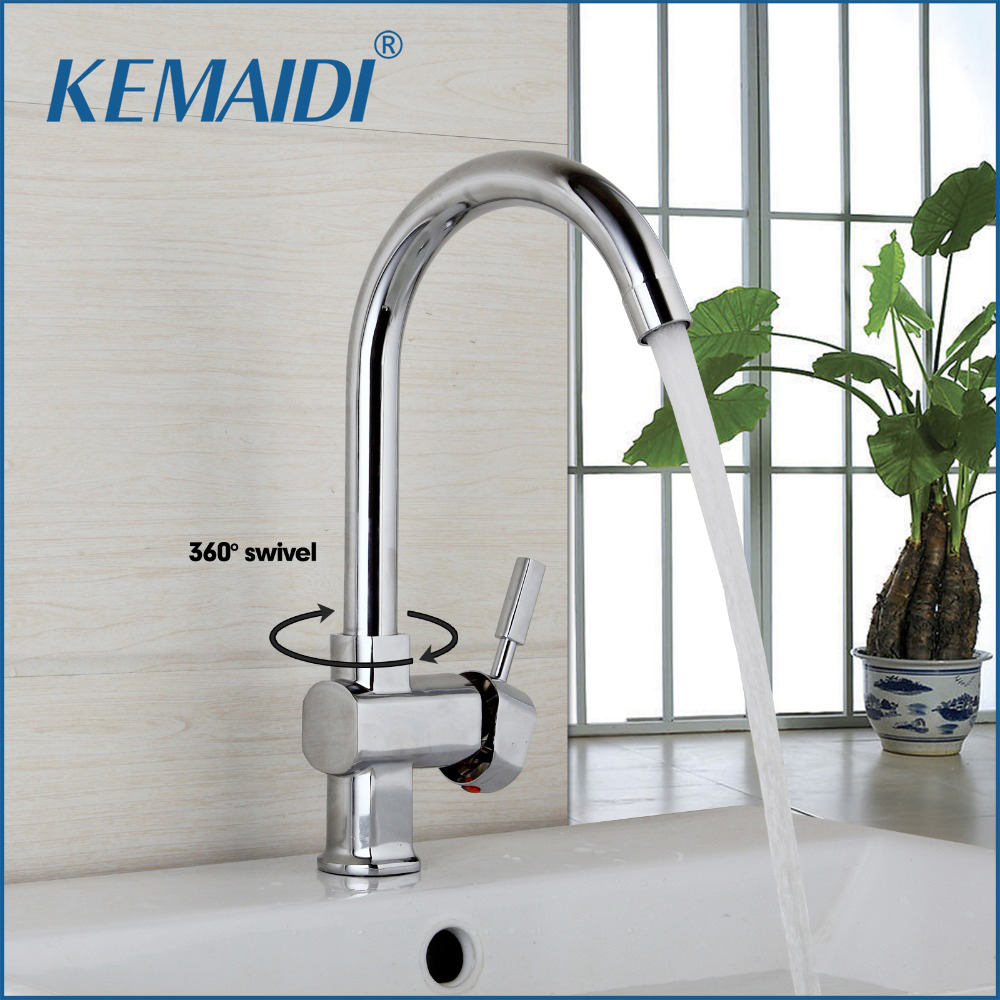 KEMAIDI 360 Swivel New Design Kitchen Sink Faucet Deck Mounted Taps Polish Chrome Finish Hot Cold