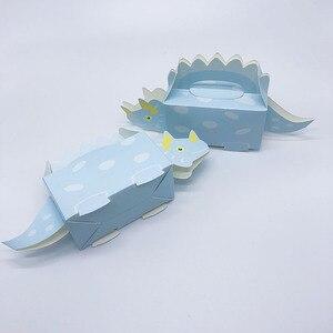 Image 4 - 10 adet dinozor parti mavi yeşil kurabiye kutusu bebek duş şeker kutusu tedavi çocuklar doğum günü kağıdı kutuları