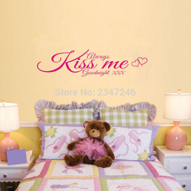 Sleeping Quotes Wall Decal Always Kiss Me Goodnight Vinyl Loving Sticker  For Kids Room Bedroom Decoration