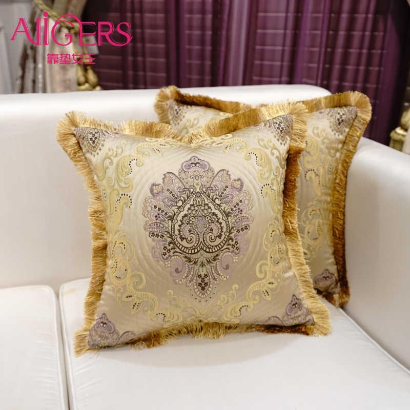 Avigers Duplo Luxo Ouro Jacquard Assento Do Sofá Capa de Almofada Borla Flor Fronha Início Decorativa Throw Pillow Cover 45x45 cm