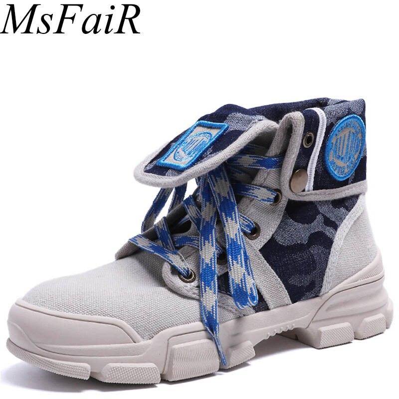 MSFAIR 2018 Offre Spéciale Skate Toile Chaussures Femme Marque de Marche Femme Planche À Roulettes Chaussures Dames Baskets Athletic Chaussures
