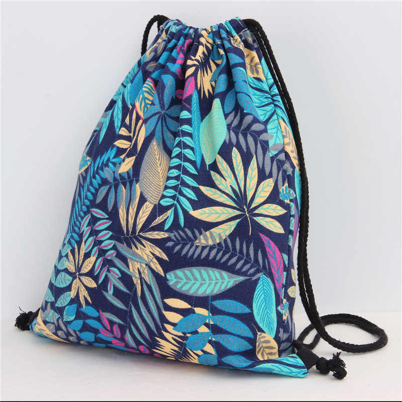 12 Styles Girls Shoulder Bags Women Canvas/ Cotton Leaf Backpack Bag Shoe Travel Pouch Portable Drawstring Storage Bags 35*40cm
