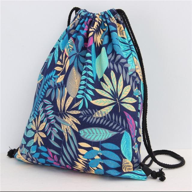 12 Styles Girls Shoulder Bags Women Canvas/ Cotton Leaf Backpack Bag Shoe Travel Pouch Portable Drawstring Storage Bags 35*40cm