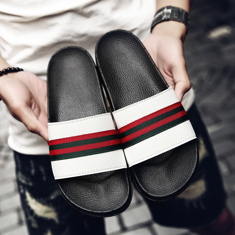 Popular Men Slippers Summer Flat Black White Men Slippers Shoes - Men's Shoes - Photo 5
