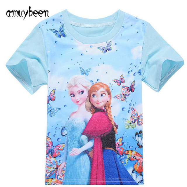 Girls T Shirt Cotton 2017 New Summer Elsa Anna Toddler Children Tshirt Butterfly Print Short