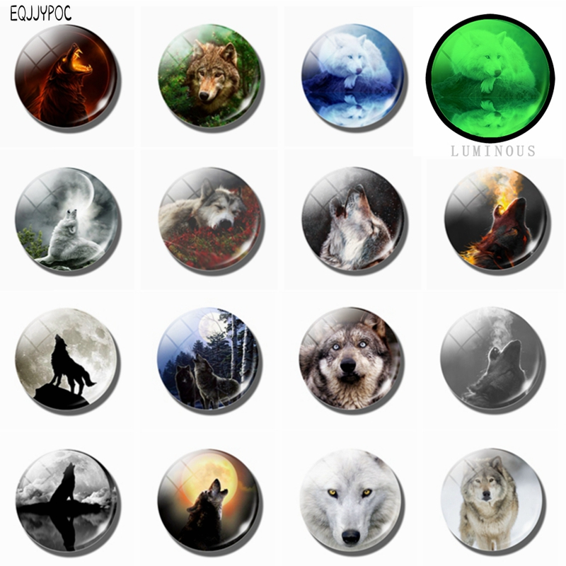 Cool Wolf Refrigerator Magnets Glass Dome Luminous Magnetic Sticker Super Discount 15 Pcs set Wolfish Fridge Magnet 25 MM 30 MM in Fridge Magnets from Home Garden