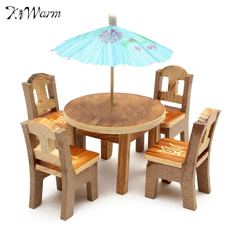 Fashion 1set Miniature Furniture Doll Ornaments Wooden Mini Dining Room  Table Chairs Umbrella Set Toy Wood