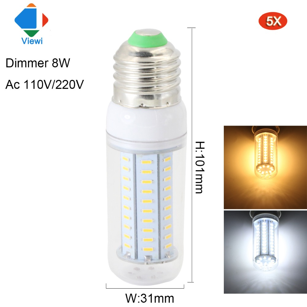 Viewi 5X lampadas led bulb light dimmer 8w E27 E14 E12 B22 GU10 G9 110V 220V 4014 chip 80 leds energy saving lamp for home bulbs smart bulb e27 7w led bulb energy saving lamp color changeable smart bulb led lighting for iphone android home bedroom lighitng