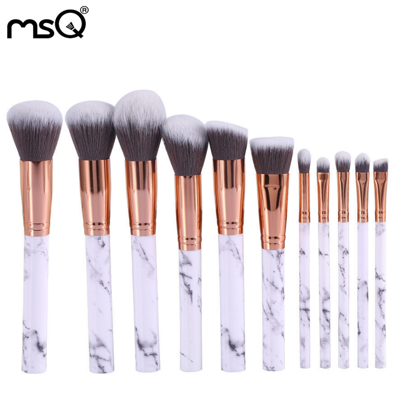 New 10pcs Smoky Color Makeup Brush Set Marble Handle Foundation Eyeshadow Eyeliner Lip Brushes Set Kit