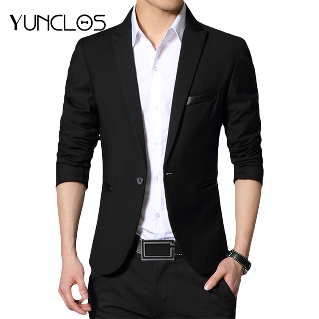 YUNCLOS 2018 New One Button Blazer for Men Casual Slim Fit Jackets Solid Color Business Wedding Party Men Blazer Jackets