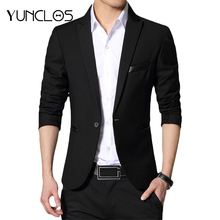 YUNCLOS 2019 New One Button Blazer for Men Casual Slim Fit Jackets Solid Color Business Wedding Party Men Blazer Jackets