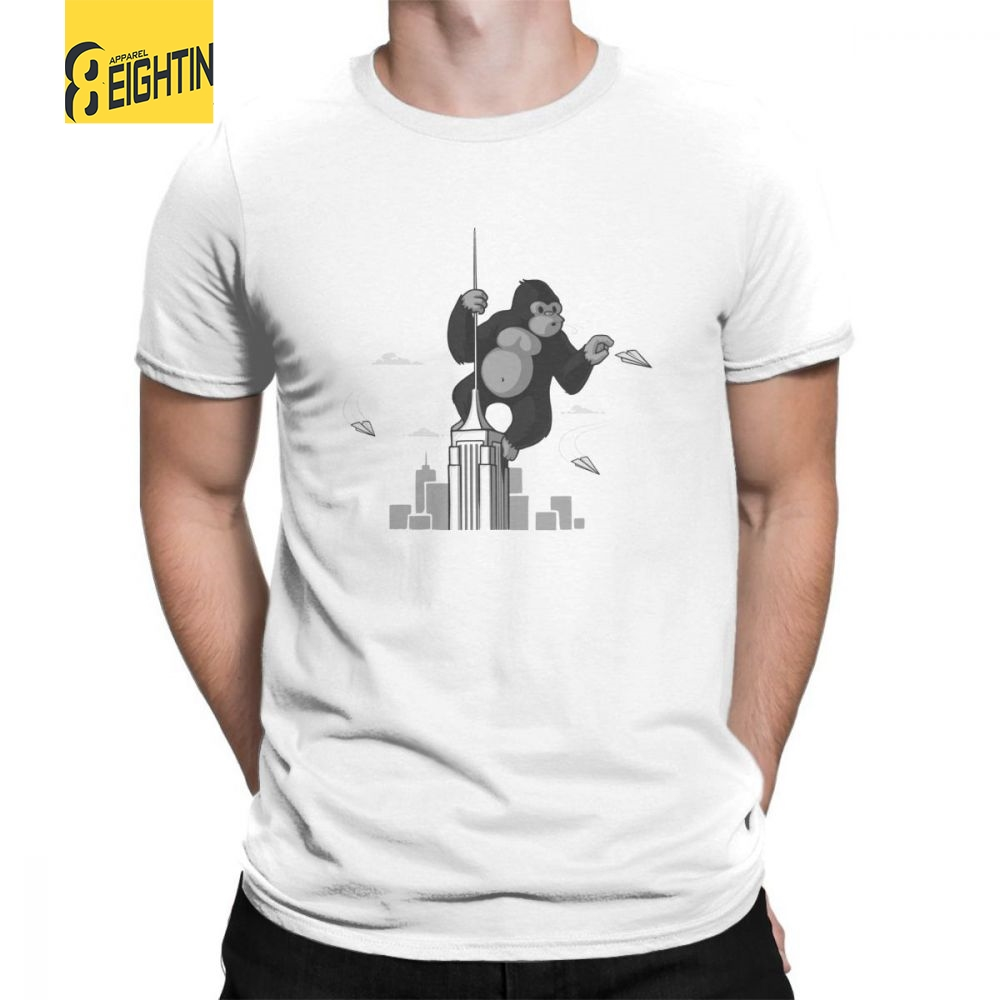 King Kong Gorilla Playing With Planes T-Shirts O Neck Short-Sleeved Purified Cotton T Shirts Print Male Tee Shirts Large Size