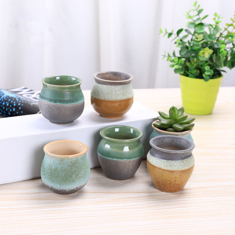 New Style Ceramic Bubble Glaze Thumb Flowerpot Mini Succulent Plants Flower Pot Pocelain Bonsai Pot With A Hole Home Garden