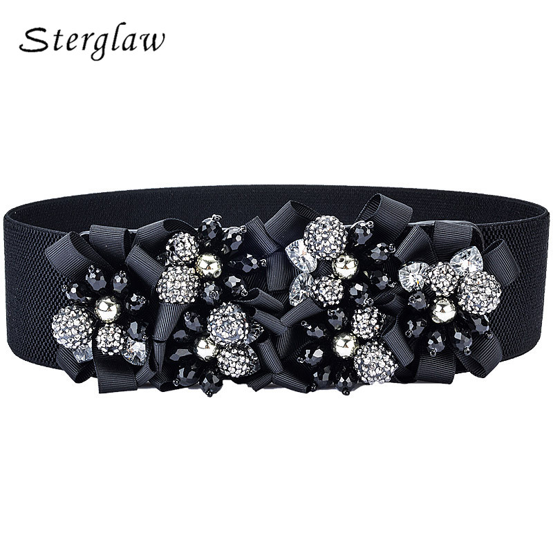 Rushed Adult Fashion Brand New 2018 Women Designer   Belts   Gorgeous Crystal Wide Elastic Girdle Waist Female Waistband   Belt   B018