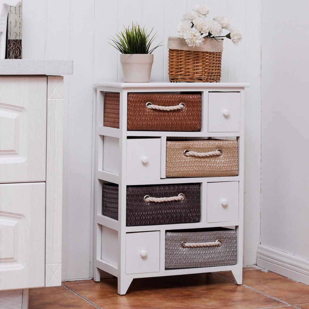 Goantex 4 Drawer 4 Woven Basket Storage Unit Rack Shelf Chest <font><b>Cabinet</b></font> Wood Frame White Living Room Furniture HW55993