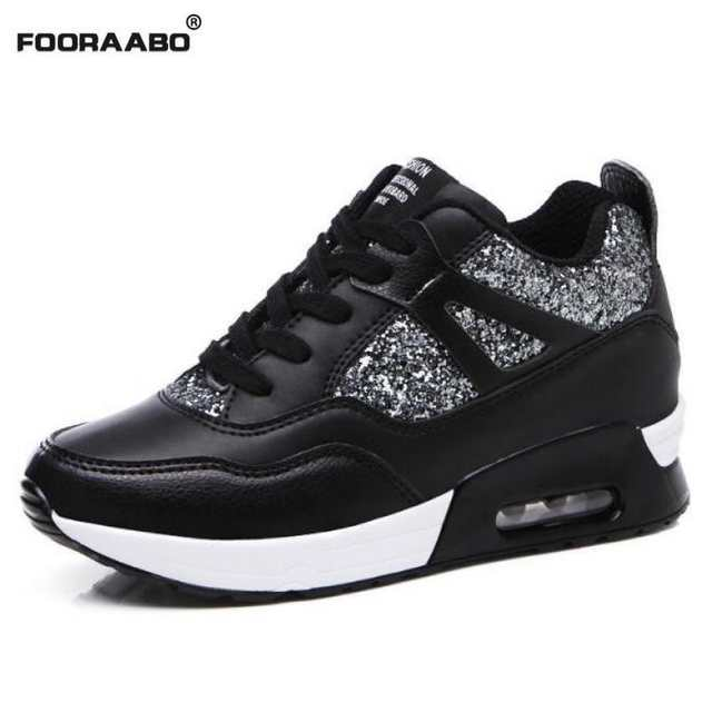 2018 Fashion Women Casual Shoes Hidden Heel Leather Wedge Sneakers Platform  Shoes Autumn Height Increasing Black cd5034397aad