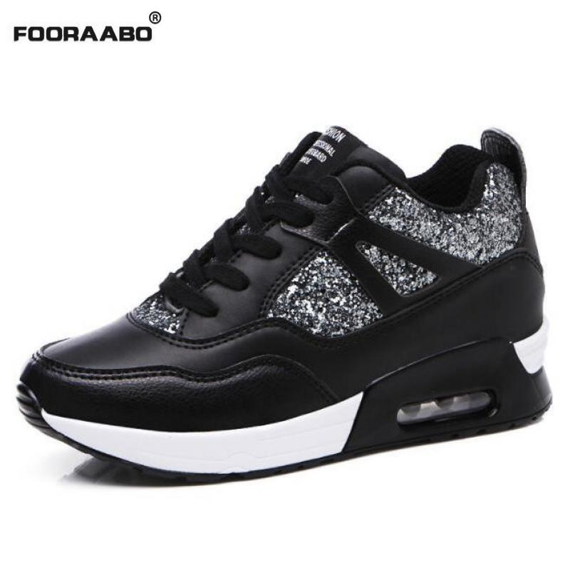 Fooraabo 2018 Fashion Women Casual Shoes Leather Hidden Heel Wedge Platform Shoes Woman Cushion Air Damping Shoes Slip On Black hot selling black white women genuine leather shoes woman fashion hidden wedge heel lace up casual shoes size 33 40