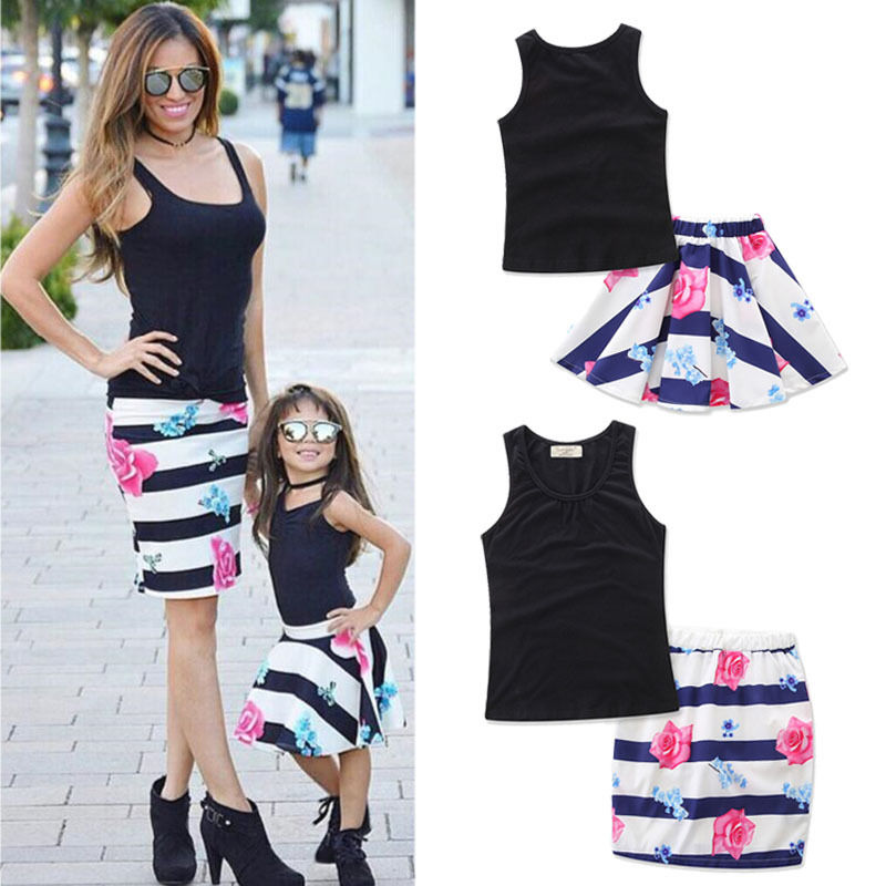 2PCS/Set Family Match Clothes Mother and Daughter Summer Sleeveless Vest Tops+Floral Skirt Outfits Matching Clothing