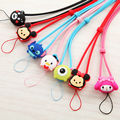 2pcs/lot Cute Cartoon Bear Hello Kitty Universal Lanyard Strap for Iphone Silicone Mobile Phone Neck Straps Key Chain Strap