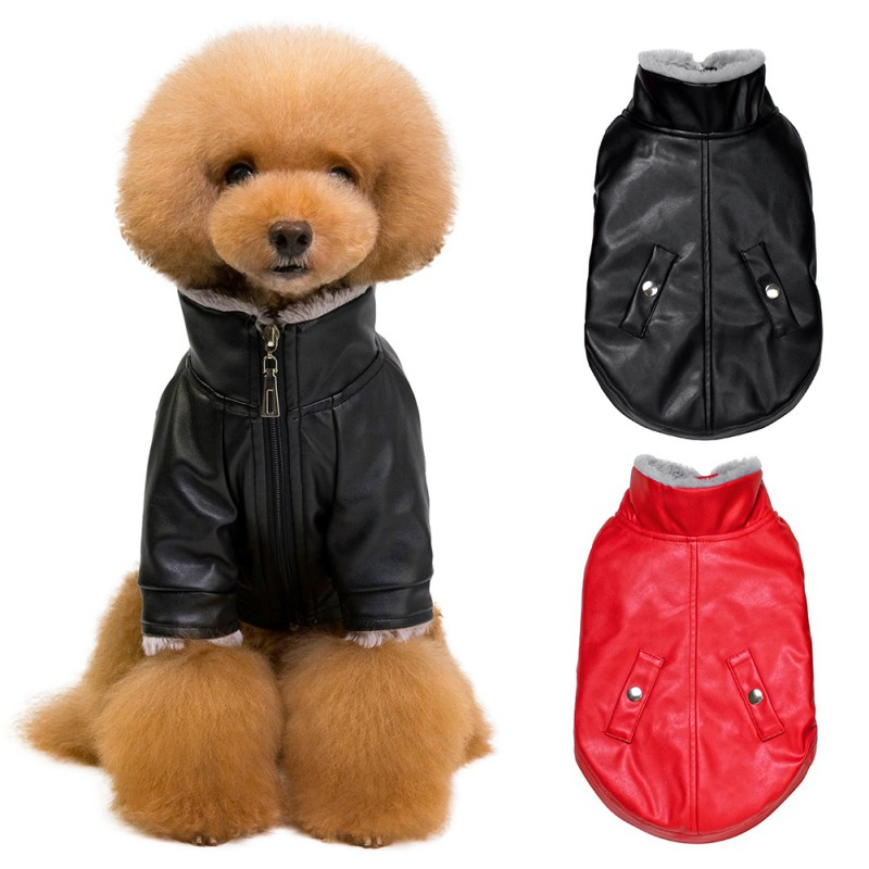 2019 Cool Dog Clothes Warm PU Jacket Pet Leather Coat Puppy Pet Clothing For Dog Outfit Chihuahua Poodle Pug French Bulldog in Dog Coats Jackets from Home Garden