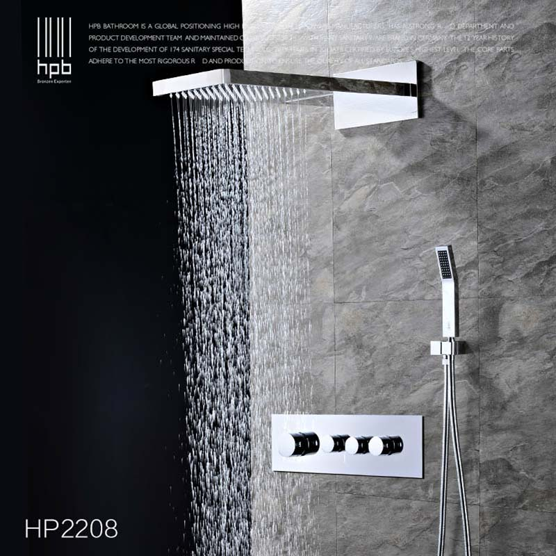 HPB Brass Thermostatic Bathroom Water Mixer Wall Mounted Bath Shower Panel Set Faucet torneira banheiro HP2209 hpb brass chrome finished thermostatic faucet bathroom shower faucets wall mounted bathtub mixer bath set fashion style hp5201