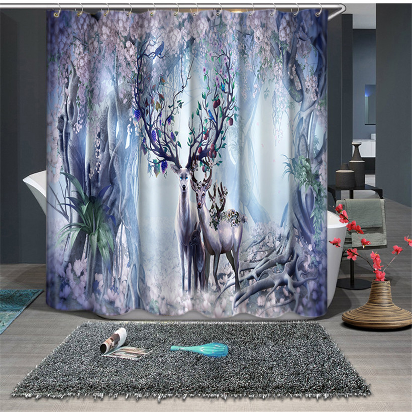 Chinese Modern style Deer print Customized Waterproof fabric Bathroom Kitchen 3D Shower Curtains Door Window Curtains