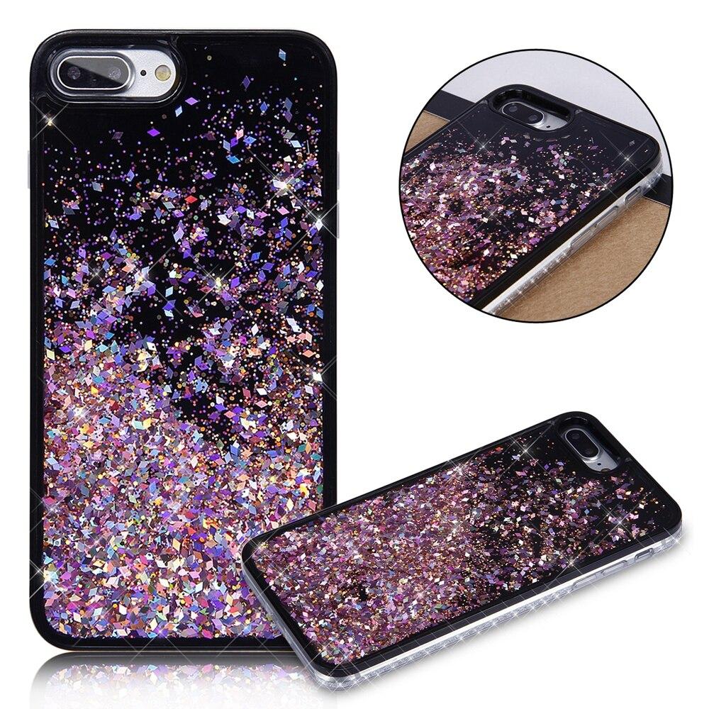 Polvo del brillo de plata del teléfono case para iphone 6 cubierta de plástico p