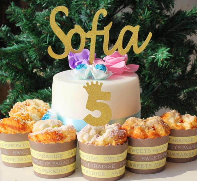 16ct Girls 5th 5 Birthday Party Decoration Crown Cupcake Toppers Gold Glitter Paper Tiara Five Personalized