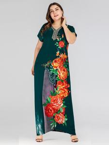 Image 4 - Boho אתני נשים קצר שרוול מקסי שמלה בתוספת גודל רופף הדפסת פרחוני שמלות קיץ V צוואר מקרית Loose קפטן דובאי שמלה חדש