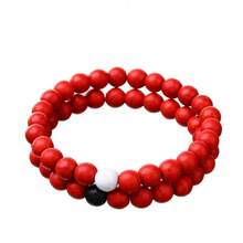 2 Pcs Stylish Natural Stone Red Tophus Bracelet Fashionable Beads Bangle Chain Jewelry(China)
