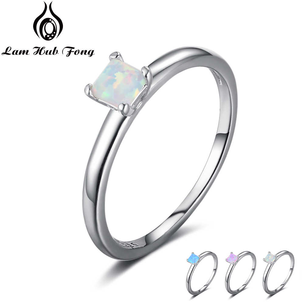 Fine Jewelry Small Square Blue Pink White Opal Ring Simple 925 Sterling Silver Engagement Rings For Women Gift (Lam Hub Fong)