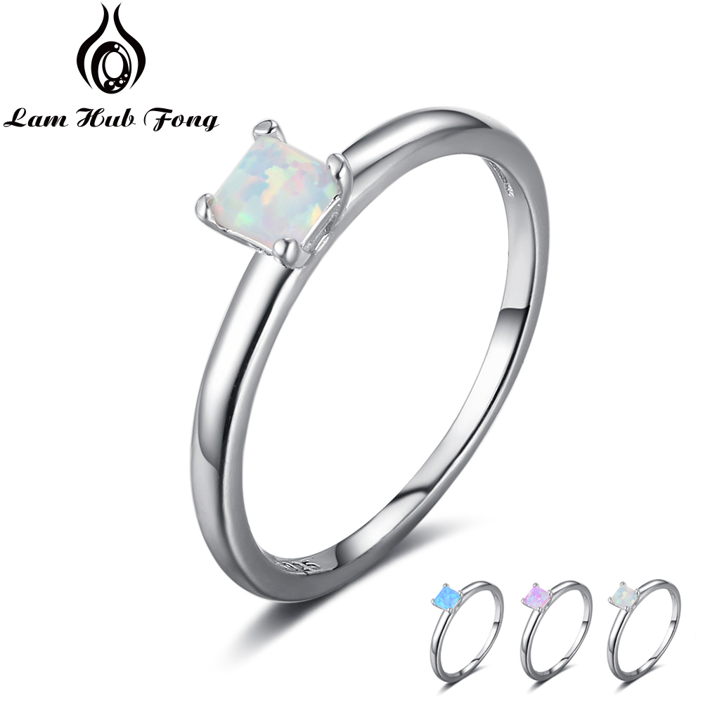 Fine Jewelry Small Square Blue Pink White Opal Ring Simple 925 Sterling Silver Engagement Rings For Women Gift (Lam Hub Fong)Fine Jewelry Small Square Blue Pink White Opal Ring Simple 925 Sterling Silver Engagement Rings For Women Gift (Lam Hub Fong)
