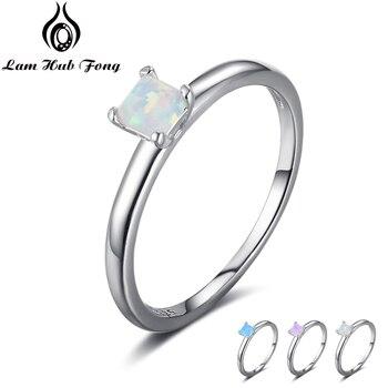 aed27430b55a Joyería Fina pequeño cuadrado azul Rosa Blanco anillo de ópalo Simple de  Plata de Ley 925 anillos de compromiso para el regalo de las mujeres (Lam  hub Fong)