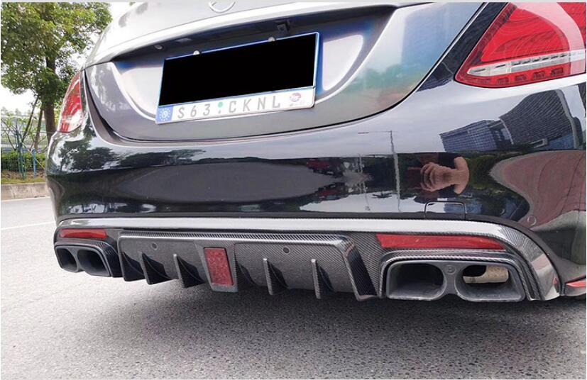NEW 4 Outlet Rear Bumper Carbon Fiber Diffuser with Exhaust Tips For Benz C Class W205 Sedan C180 C200 C300 C63 2015-2020 Mercedes-Benz A-класс