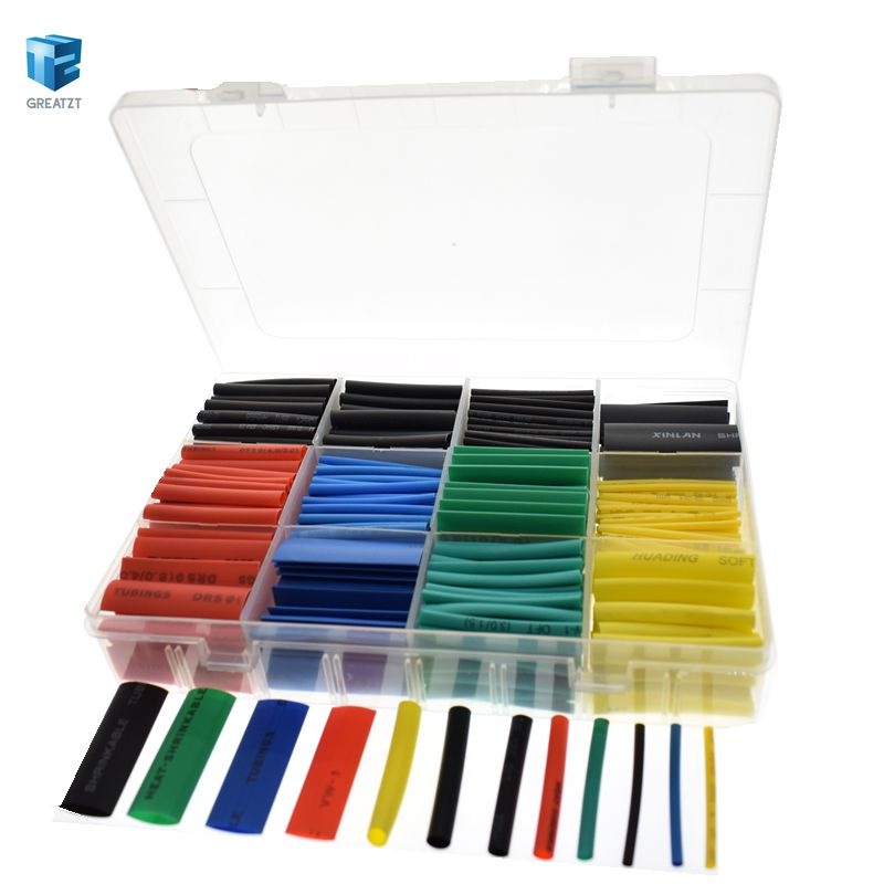 530pcs Heat Shrink Tubing Insulation Shrinkable Tube Assortment Electronic Polyolefin Ratio 2:1 Wrap Wire Cable Sleeve Kit IC