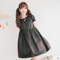 Princess Sweet Lolita Dress Dolly Delly Original Fresh Soft Sister Female Bubble Short Sleeve Black Dress