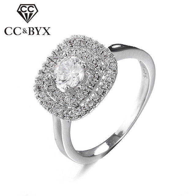 Vintage square engagement rings for women CZ luxury wedding rings