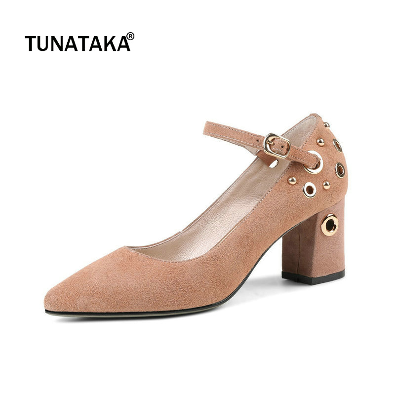Suede Comfort Square High Heel Pointed Toe Woman Ankle Strap Pumps Fashion Buckle Dress High Heel Shoes Woman Black Pink amourplato women s fashion pointed toe high heel sandals crisscross strap pumps pointy dress shoes black purple size5 13
