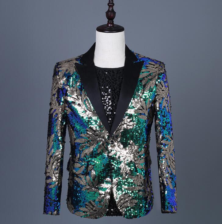 magician sequins blazer men suits designs jacket mens stage costumes for singers clothes dance star style dress punk rock blue