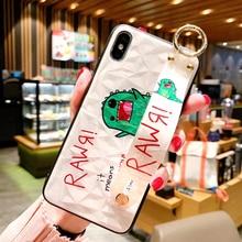 Cute Cartoon Dinosaur Case with Strap Holder for iPhone 8 plus 7 6 6s Hard Diamond 3D X XS MAX XR