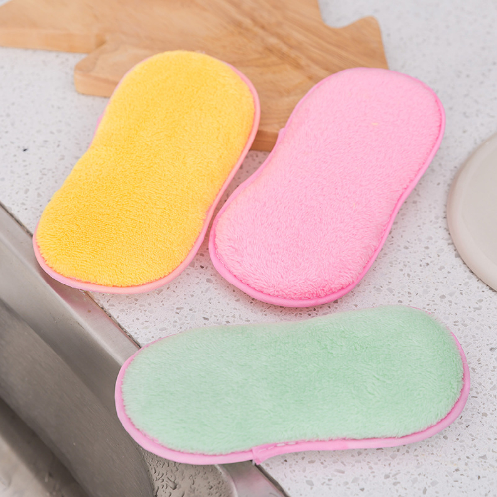 Kitchen Bamboo Fiber Cleaning Cloths Double Sided Antibacterial Dishcloths Washing Dish Towel Scrubbing Sponges Washing Dish