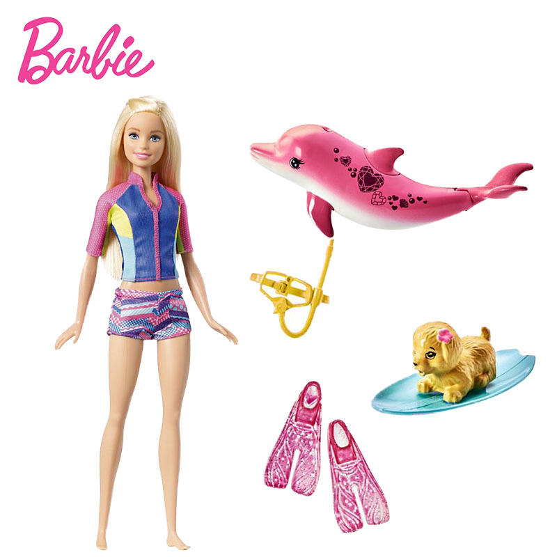 Original Barbie Dolls Electrionic Barbie Dolphin Magic Adventure Doll with Clothe Snorkel Fun Friends Collectible Model Doll Toy