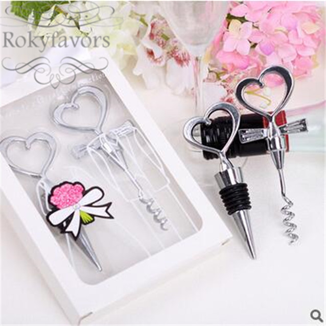 Cheers to a Great Combination Bride and Groom Heart Wine Stopper /& Corkscrew Set