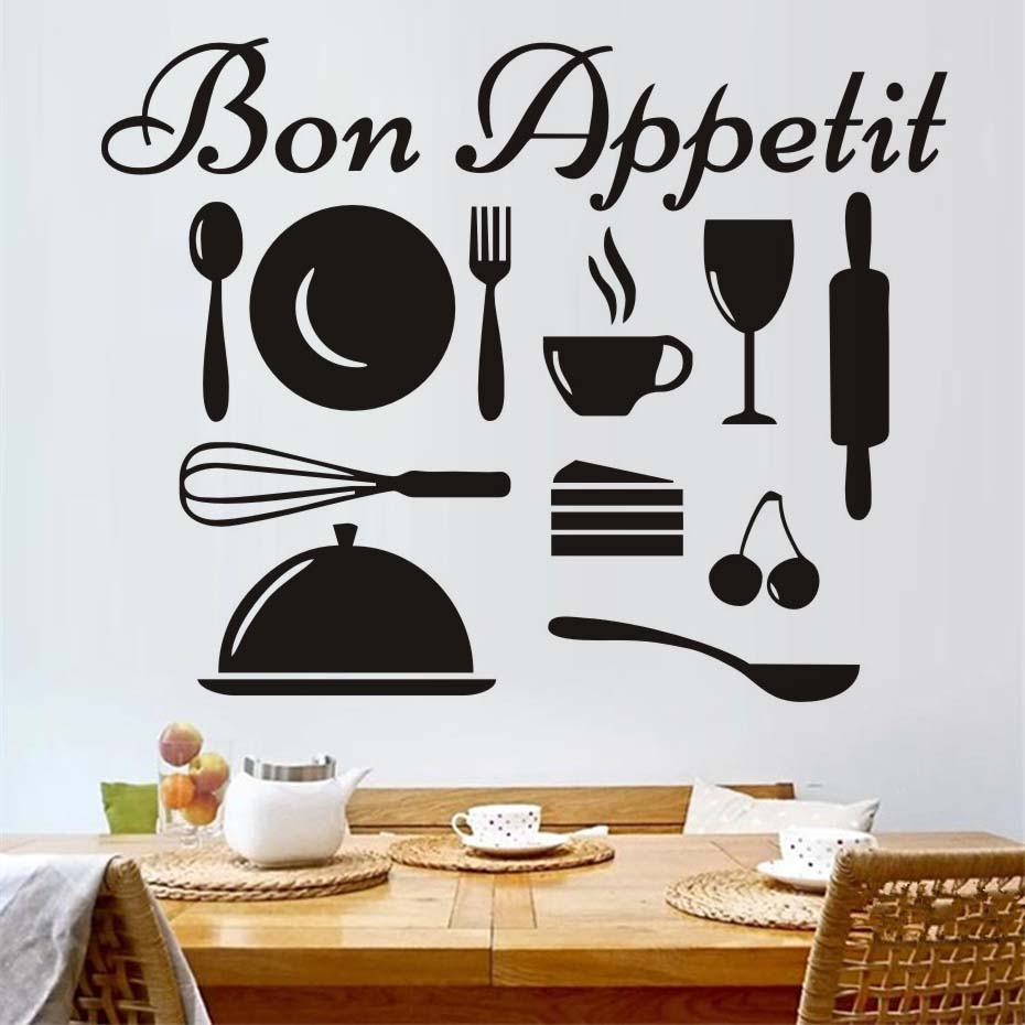 Us 7 07 35 Off Bon Appetit French Vinyl Wall Decal Kitchenware Art Kitchen Wall Sticker Art Removable Diy Wall Cling Murals Home Decor In Wall