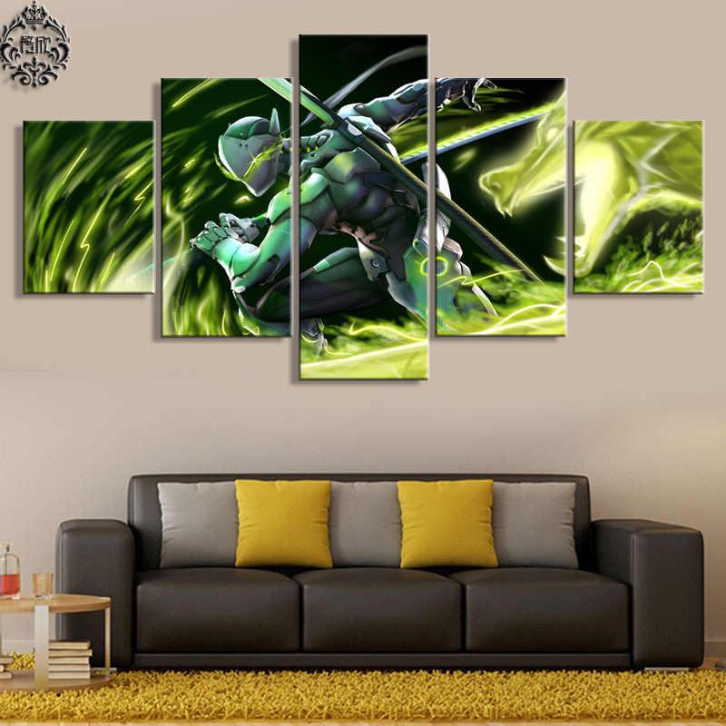 Dinding Seni Permainan Poster 5 Potongan Overwatch Genji Lukisan Gambar Modern Kanvas Dicetak Karya Seni Dekorasi Rumah untuk Ruang Tamu Cuadros