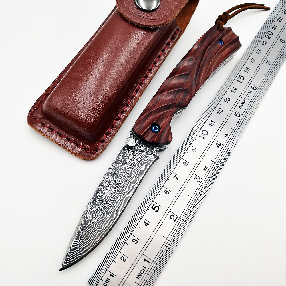 JSSQ Handmade Folding Knife VG10 Damascus Blade Rosewood Handle Pocket Knife Survival Camping Hunting Tactical Knives EDC Tools
