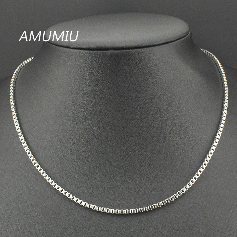 AMUMIU 40-70CM Gold Chain Necklace For Men Women Stainless Steel Accessories Chain Wholesale DIY Long Chain HN005