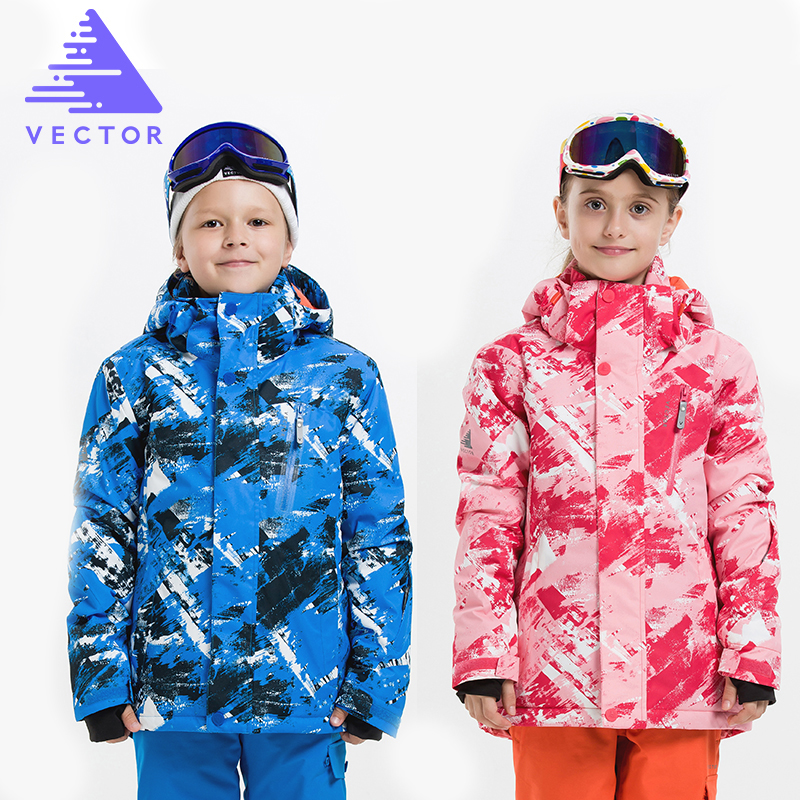VECTOR Children Ski Jackets Warm Winter Jackets Boys Girls Waterproof Outdoor Sport Snow Skiing Snowboarding Clothing For Child detector girl winter windproof ski jackets pants outdoor children clothing set kids snow sets warm skiing suit for boys girls